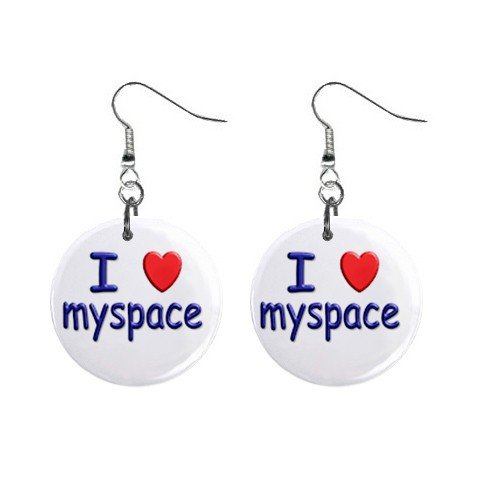 I love myspace Dangle Earrings Jewelry 1 inch Buttons 12310022