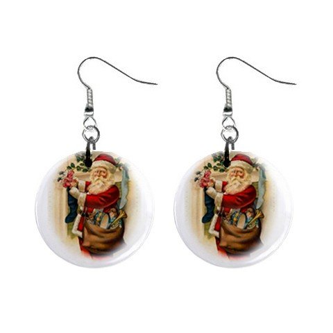 Christmas Vintage Santa Dangle Earrings Jewelry 1 inch Buttons 12456946