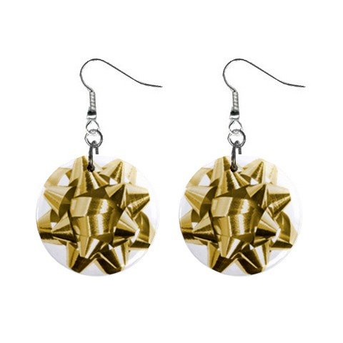 Christmas Bow Gold Dangle Earrings Jewelry 1 inch Buttons 12456987