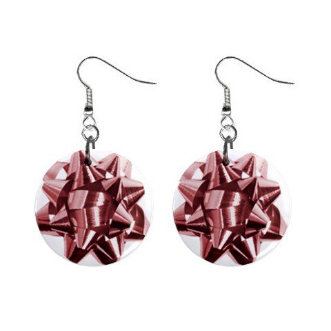 Christmas Red Bow Dangle Earrings Jewelry 1 inch Buttons 12456983