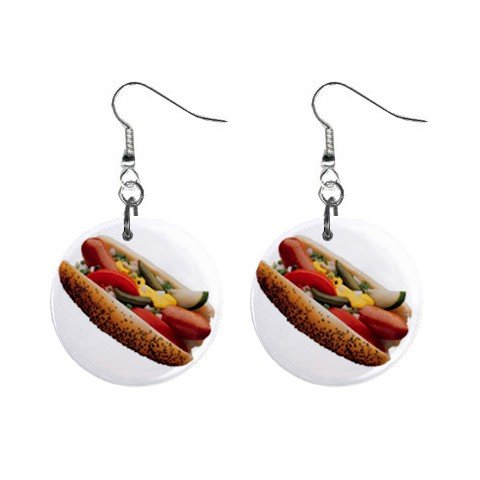 Chicago Style Hot Dog Dangle Earrings Jewelry 1 inch Button 12322871
