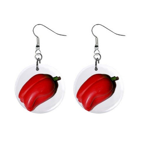 Red Pepper Dangle Earrings Jewelry 1 inch Buttons 12320077
