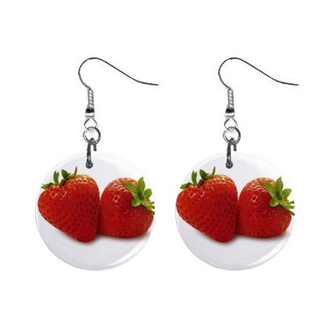 Strawberries Dangle Earrings Jewelry 1 inch Buttons 12329452