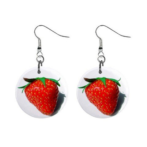 Strawberry Dangle Earrings Jewelry 1 inch Button 12329455