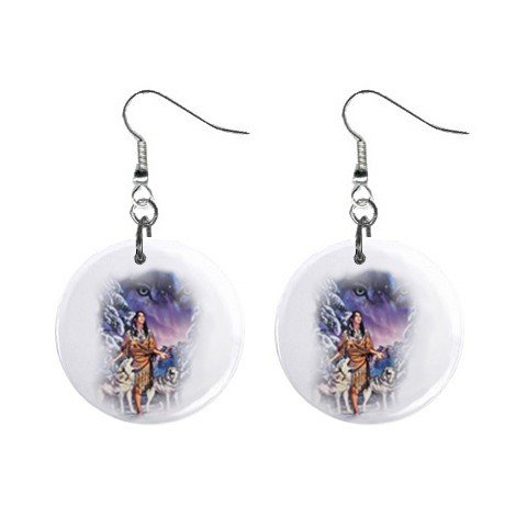 Wolf Native American Dangle Earrings Jewelry 1 inch Buttons12479612