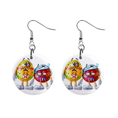 Beat Up M&Ms Cartoon Dangle Earrings Jewelry 1 inch Buttons