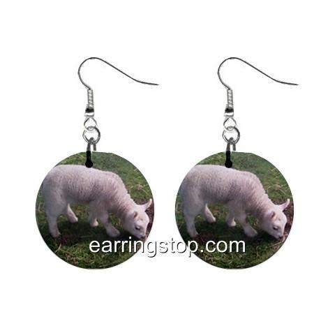 Lamb Sheep  Dangle Earrings Jewelry 1 inch Buttons 12345387