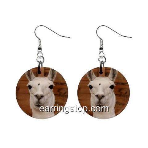Llama Dangle Earrings Jewelry 1 inch Buttons 12345309