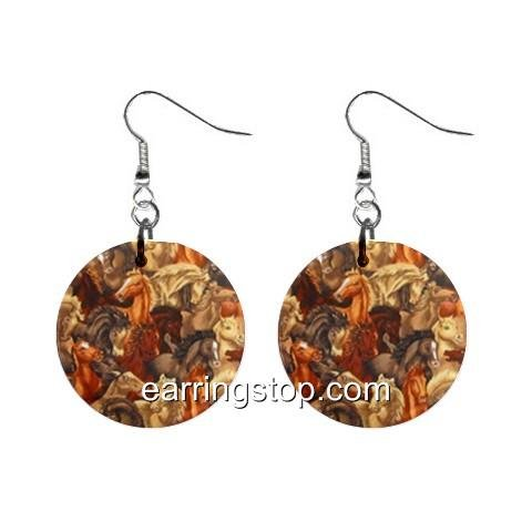 Horse Horses Dangle Earrings Jewelry 1 inch Buttons 12345306