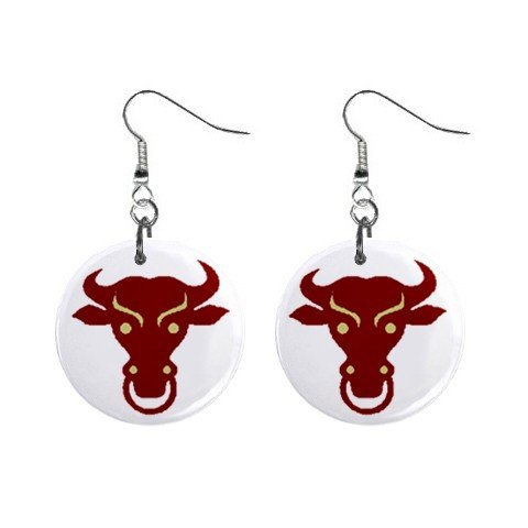 Bull with Nose Ring Dangle Earrings Jewelry 1 inch Buttons 12479711