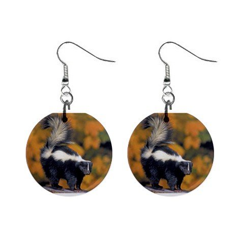 Skunk Dangle Earrings Jewelry 1 inch Buttons 12479785