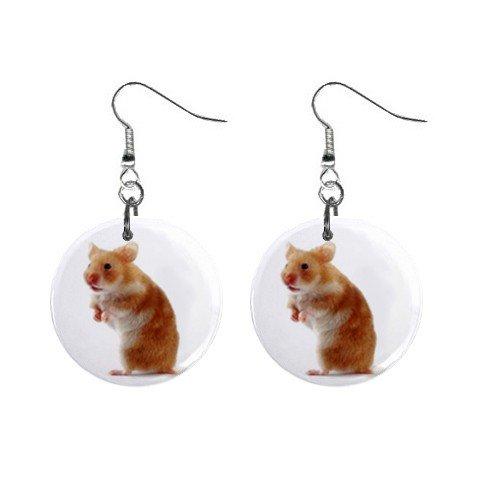 Hamster Dangle Earrings Jewelry 1 inch Buttons 12479761