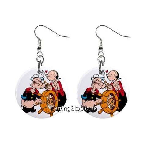 Popeye and Oliveoil Dangle Earrings Jewelry 1 inch Buttons 12418568