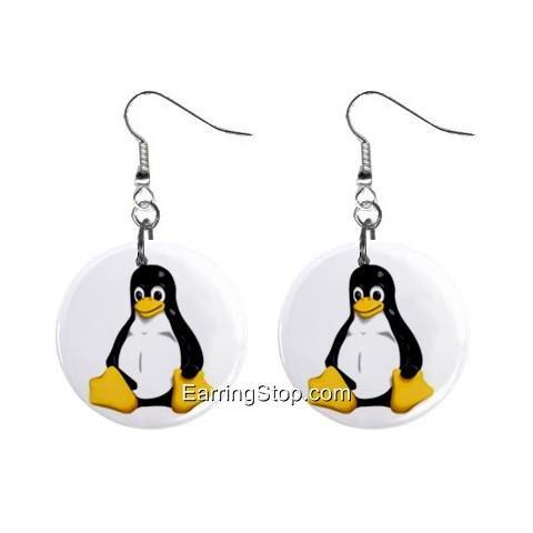 Cartoon Penguin Dangle Earrings Jewelry 1 inch Buttons 12418565