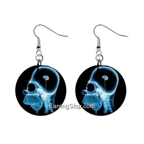 Homer Simpson Brain Xray Dangle Earrings Jewelry 1 inch Buttons 12418560