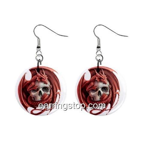 Dragon Skull  Dangle Earrings Jewelry 1 inch Buttons 12310644