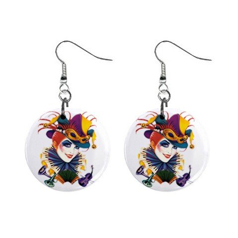 Jester Lady Dangle Earrings Jewelry 1 inch Buttons 12310670