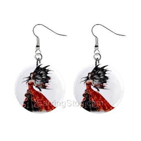 Black and Red Fairy Dangle Earrings Jewelry 1 inch Buttons 12479719