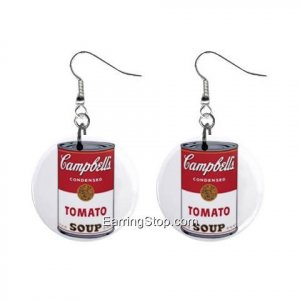 Campbell Tomatoe Soup Pop Art Dangle Earrings Jewelry 1 inch Buttons 12409461
