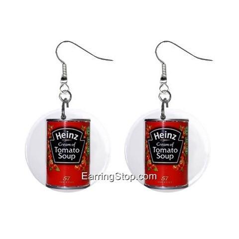 Heintz Tomato Soup Pop Art Dangle Earrings Jewelry 1 inch Buttons 12409503