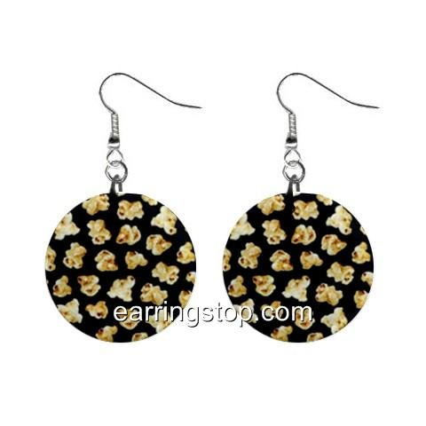 Popcorn Dangle Earrings Jewelry 1 inch Buttons 12398819