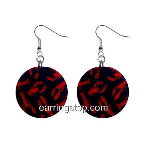 Lobster Dangle Earrings Jewelry 1 inch Buttons 12398805