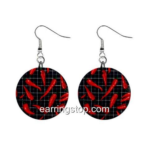 Hot Peppers Dangle Earrings Jewelry 1 inch Buttons 12398804