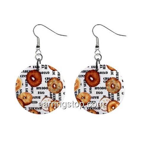 Bagels Dangle Earrings Jewelry 1 inch Buttons 12345204