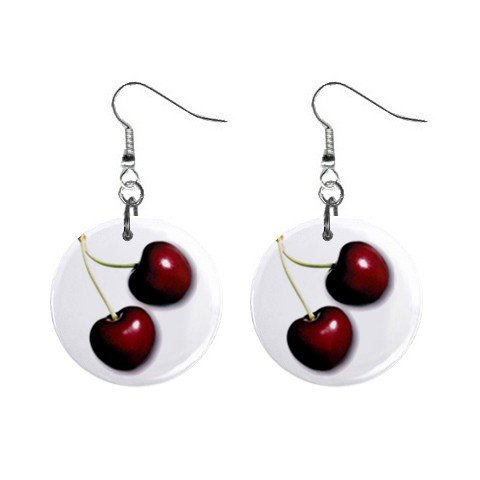 Cherries  Dangle Earrings Jewelry 1 inch Buttons 12310640