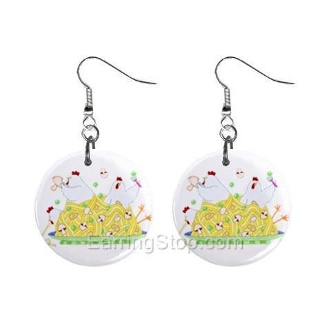 Chicken Tetrazzini  Dangle Earrings Jewelry 1 inch Buttons 12479702
