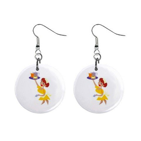 Waitress Dangle Earrings Jewelry 1 inch Buttons 12479799