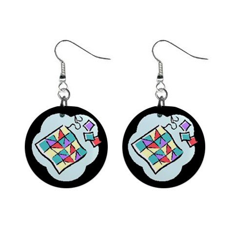 Quilt Quilting Quilter #2 Dangle Earrings Jewelry 1 inch Buttons 12619831