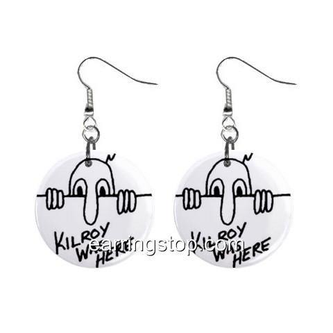 Kilroy Was Here  Dangle Earrings Jewelry 1 inch Buttons 12329460
