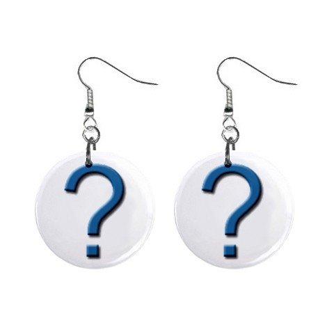 Question Mark Dangle Earrings Jewelry 1 inch Buttons 12479781