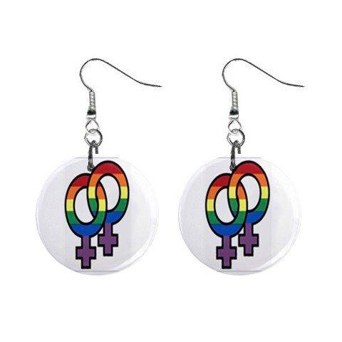 Lesbian Symbol  Dangle Earrings Jewelry 1 inch Buttons 12628253