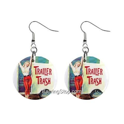 Trailer Trash Dangle Earrings Jewelry 1 inch Buttons 12409543
