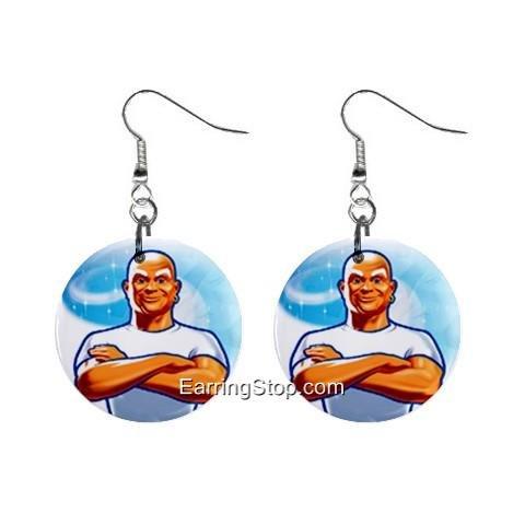 Mr Clean Dangle Earrings Jewelry 1 inch Buttons 12409522
