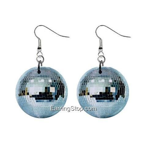 Disco Ball Dangle Earrings Jewelry 1 inch Buttons 12409496