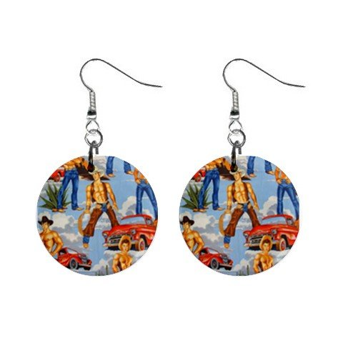 Topless Cowboys Blue  Dangle Earrings Jewelry 1 inch Buttons 12479790
