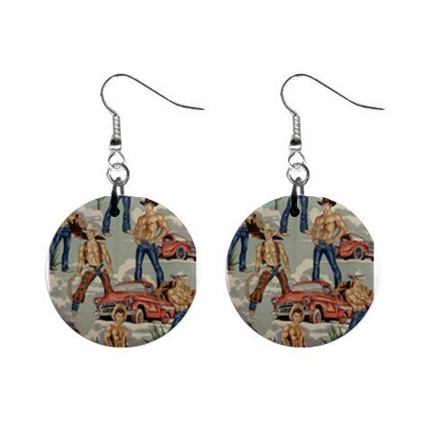 Topless Cowboys Blue  Dangle Earrings Jewelry 1 inch Buttons 12479789