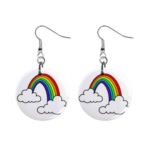Rainbow with Clouds Dangle Earrings Jewelry 1 inch Buttons 12479783