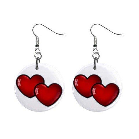 Double Hearts  Dangle Earrings Jewelry 1 inch Buttons 12628324