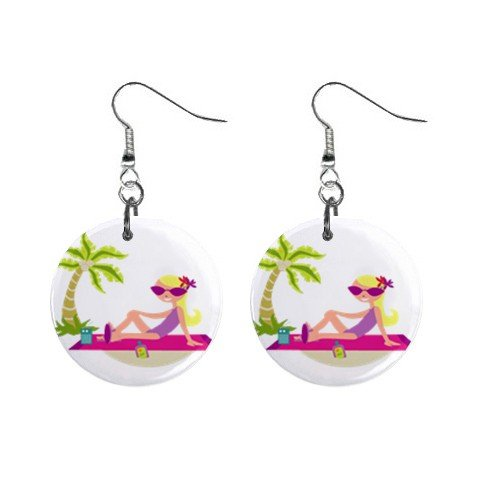 Girl on Beach  Dangle Earrings Jewelry 1 inch Buttons 12310636