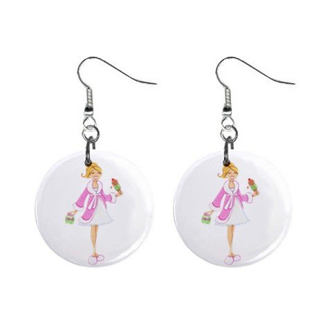 Pregnant Lady  Dangle Earrings Jewelry 1 inch Buttons 12310674