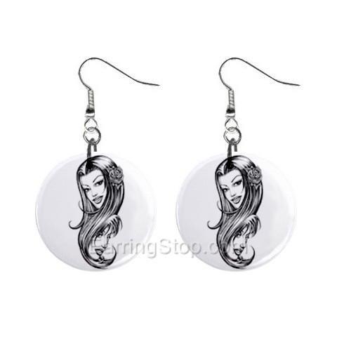 Two Women  Dangle Earrings Jewelry 1 inch Buttons 12479731