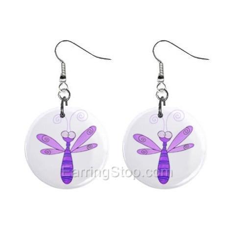 Purple Dragonfly  Dangle Earrings Jewelry 1 inch Buttons 12479627