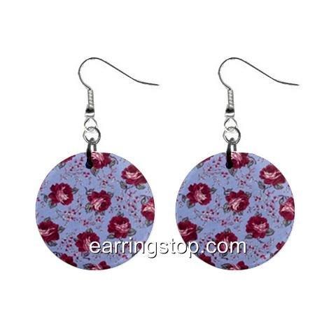 Rosebuds  Dangle Earrings Jewelry 1 inch Buttons 12345373