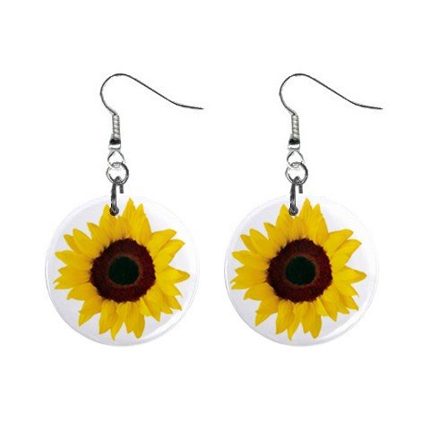 Yellow Sunflower Dangle Earrings Jewelry 1 inch Buttons 12479787