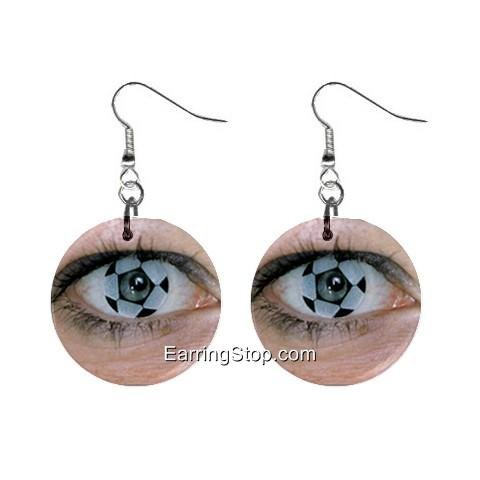 Soccer Eyes Dangle Earrings Jewelry 1 inch Buttons 12409464