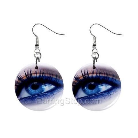 Blue Eyes Dangle Earrings Jewelry 1 inch Buttons 12479707